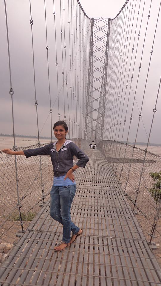 Civil engineering student Babita Sharma '16 checks out a bridge over the Mahakali river in the far western region of Nepal.