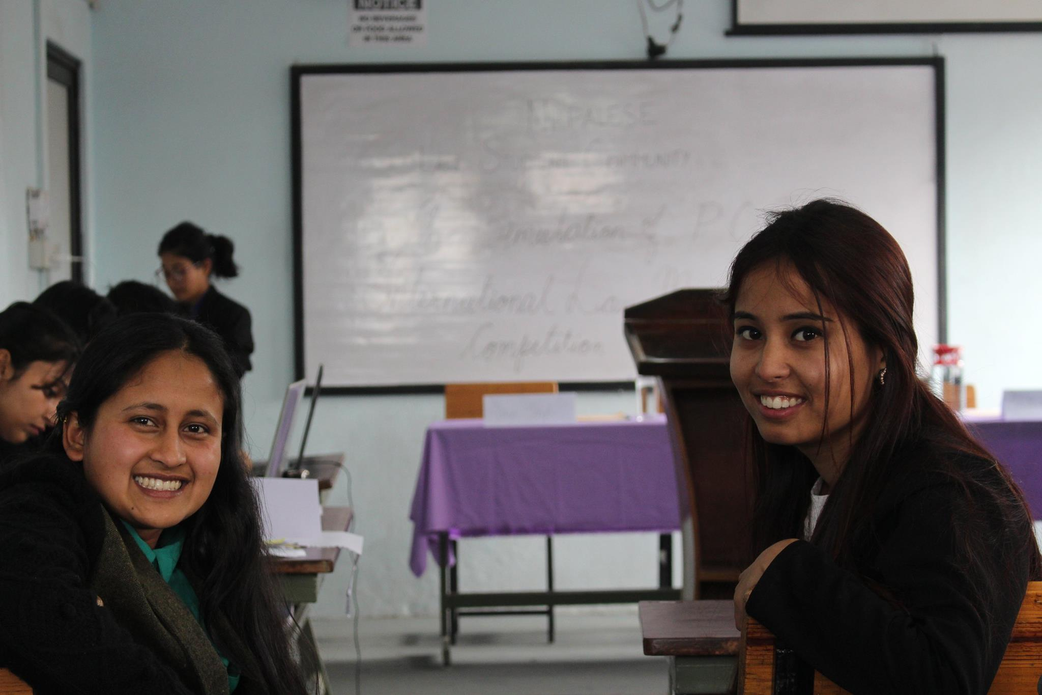 BMKF scholar Saniya Giri and classmate at a  mock trial.